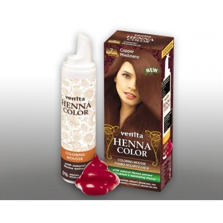 Henna Color - pianka koloryzująca do włosów No 7, miedziany