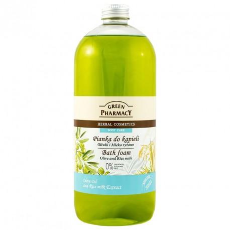 Green Pharmacy - pianka do kąpieli Oliwki i Mleko Ryżowe, poj. 1000 ml