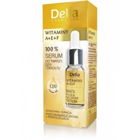 Delia Witaminy A+E+F, serum 100% do twarzy, szyi i dekoltu, poj. 10 ml