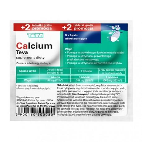 Calcium Teva, tabletki musujące, 12 szt. + 2 szt.