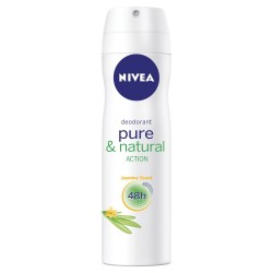 NIVEA Pure and Natural Action Jasmine Scent 48 h - dezodorant w aerozolu dla kobiet, poj. 150 ml