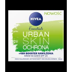 NIVEA Essentials Urban Skin - OCHRONA, krem na dzień, +48H Booster Nawilżenia, SPF 20, poj. 50 ml