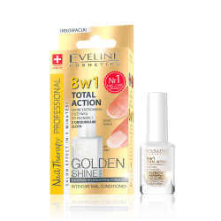 Eveline Nail Therapy Total Action - skoncentrowana odżywka do paznokci z drobinkami złota Golden Shine 8w1, poj. 12 ml