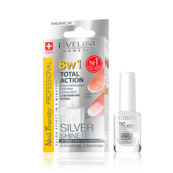 Eveline Nail Therapy Total Action - skoncentrowana odżywka do paznokci z drobinkami srebra Silver Shine 8w1, poj. 12 ml