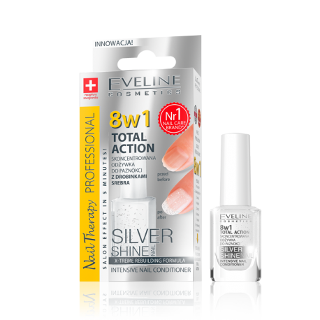 Eveline Nail Therapy Total Action - skoncentrowana odżywka do paznokci z drobinkami srebra Silver Shine 8w1, poj. 12 ml
