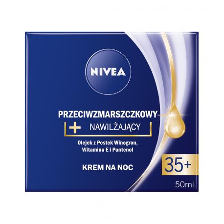 NIVEA przeciwzmarszczkowy + nawilżający, krem na noc, 35+, poj. 50 ml