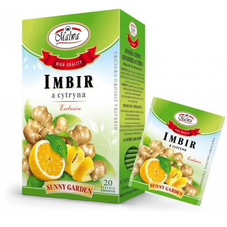 Malwa Sunny Garden - Imbir z cytryną, 20 torebek w kopertach papierowych po 2 g