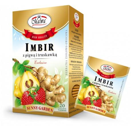 Malwa Sunny Garden - Imbir z pigwą i truskawką, 20 torebek w kopertach papierowych po 2 g