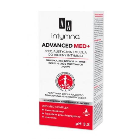 AA Intymna - ADVANCED MED+ pH 3,5. Specjalistyczna emulsja do higieny intymnej, Na nawracające infekcje intymne, poj. 300 ml