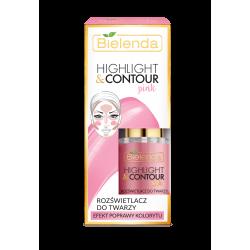 Bielenda HIGHLIGHT & CONTOUR - rozświetlacz do twarzy, PINK, efekt poprawy konturu, poj. 15 ml
