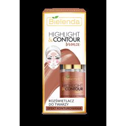 Bielenda HIGHLIGHT & CONTOUR - rozświetlacz do twarzy, BRONZE, efekt konturowania, poj. 15 ml
