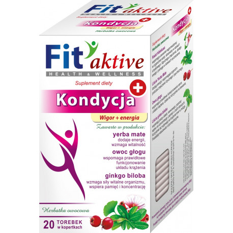 Malwa Fit Aktive - Kondycja, Wigor i Energia, herbata owocowa, suplement diety, zawartość: 20 saszetek x 2 g