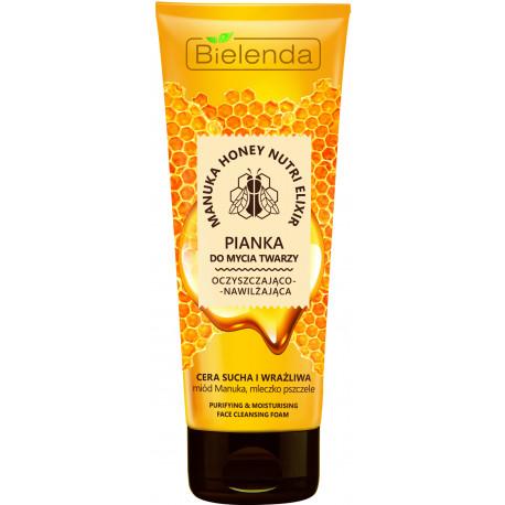 Bielenda MANUKA HONEY NUTRI ELIXIR - oczyszczająco – nawilżająca pianka do mycia twarzy, poj. 175 g