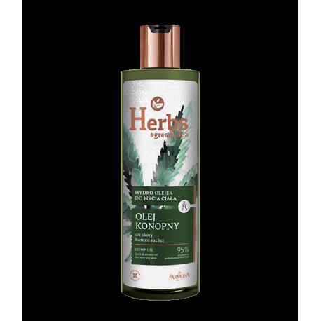 Farmona Herbs - olej konopny, hydro olejek do mycia ciała do skóry bardzo suchej, poj. 400 ml