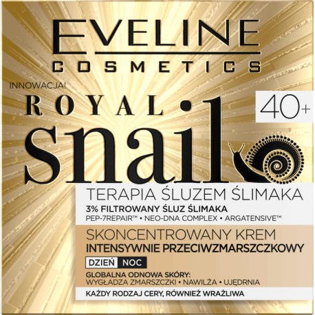 Eveline Royal Snail - skoncentrowany krem intensywnie przeciwzmarszczkowy na dzień i na noc, 40+, każdy rodzaj cery, poj. 50 ml
