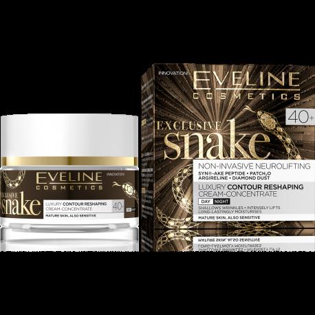 Eveline Exclusive Snake - silnie ujędrniający krem, modelujący kontur twarzy, na dzień i na noc, 40+, poj. 50 ml