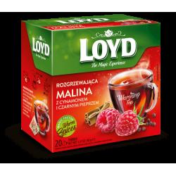 LOYD Rozgrzewająca -malina z cynamonem i czarnym pieprzem, herbatka funkcjonalna, poj. 20 torebek piramidek x 2 g
