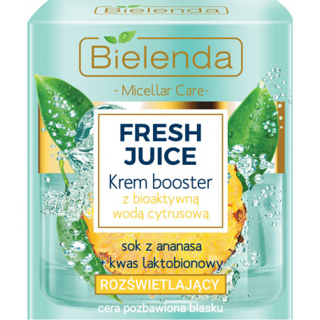 Bielenda FRESH JUICE - Rozświetlający Krem booster z bioaktywną wodą cytrusową ANANAS, poj. 50 ml