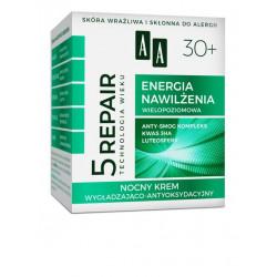 AA Technologia Wieku 5 REPAIR - ENERGIA NAWILŻENIA, nocny krem wygładzająco-antyoksydacyjny 30+, poj. 50 ml