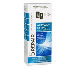 AA Technologia Wieku 5 REPAIR - AKTYWNY LIFTING, krem pod oczy odbudowujący przeciwzmarszczkowy 50+, poj. 15 ml