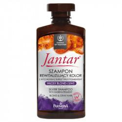 Jantar - szampon rewitalizujący kolor z wyciągiem z bursztynu i pigmentem, włosy blond i siwe, poj. 330 ml