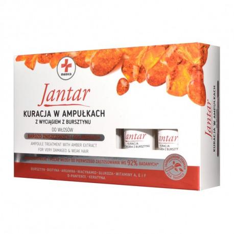 Jantar Medica - kuracja w ampułkach z wyciągiem z bursztynu do włosów zniszczonych, poj. 5 x 5 ml