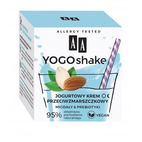 AA YOGO SHAKE - krem przeciwzmarszczkowy, Jogurtowy, MIGDAŁY & PREBIOTYKI, poj. 50 ml