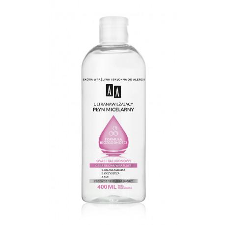 AA FORMUŁA BIOZGODNOŚCI - ultranawilżający płyn micelarny cera sucha i wrażliwa, poj. 400 ml