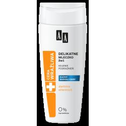 AA Cera Wrażliwa - delikatne mleczko do demakijażu 2w1 bezzapachowe, poj. 200 ml