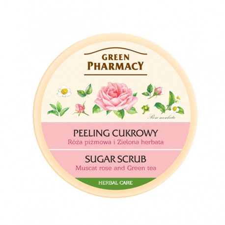 Green Pharmacy - peeling cukrowy, róża piżmowa i zielona herbata, poj. 300 ml
