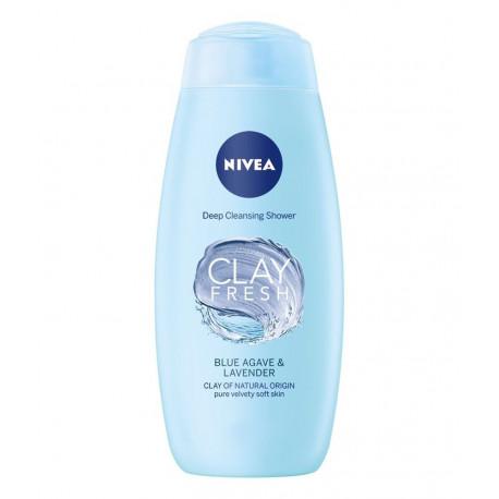 Nivea CLAY FRESH - żel pod prysznic z glinką, BLUE AGAVE & LAVENDER, poj. 250 ml