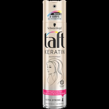 Taft Keratin - lakier do włosów z keratyną Ultra Strong 4, poj. 250 ml