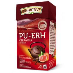 Big-Active - Herbata czerwona Pu-Erh o smaku grejpfrutowym, 20 saszetek x 1,8 g