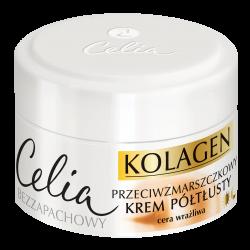 Celia Kolagen - przeciwzmarszczkowy krem półtłusty z kozim mlekiem do cery wrażliwej na dzień i na noc, poj. 50 ml