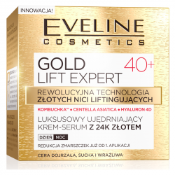 Eveline GOLD LIFT EXPERT - Luksusowy ujędrniający krem-serum z 24k złotem 40+, na dzień i na noc, poj. 50 ml