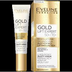 Eveline Gold Lift Expert - luksusowy złoty krem napinający kontur oczu i ust 50+/70+, poj. 15 ml