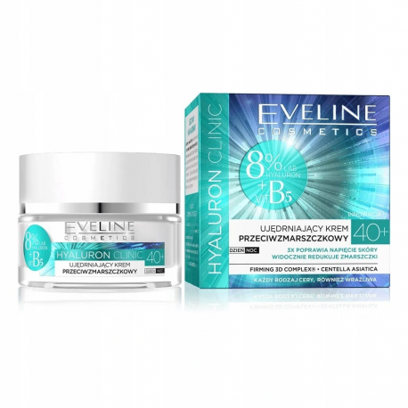 Eveline Hyaluron Clinic - Ujędrniający krem przeciwzmarszczkowy 40+ na dzień i na noc, poj. 50 ml
