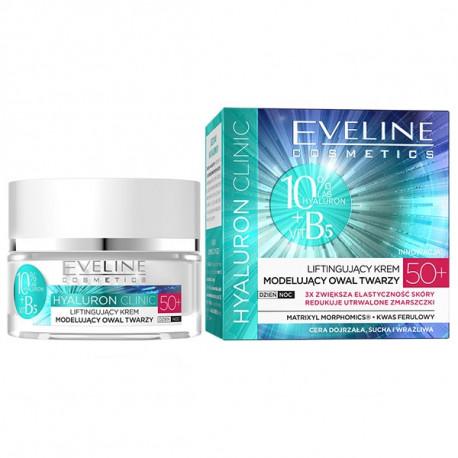 Eveline Hyaluron Clinic - liftingujący krem modelujący owal twarzy 50+ na dzień i na noc, poj. 50 ml