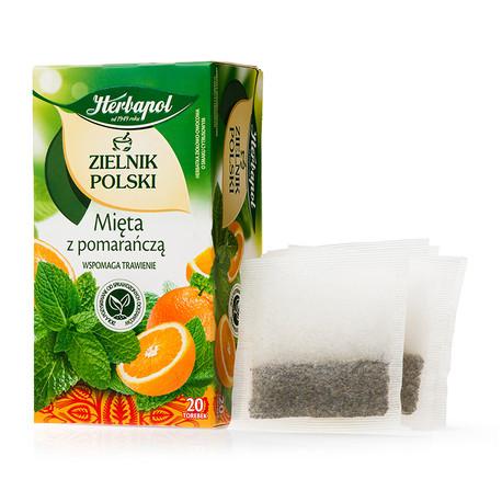 Zielnik Polski - Mięta z pomarańczą, herbatka ziołowo-owocowa o smaku cytrusowym, 30g (20 saszetek x 1,5g)