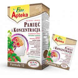 PAMIĘĆ I KONCENTRACJA Formuła 13 - herbatka ziołowa, suplement diety, 20 saszetek x 2 g