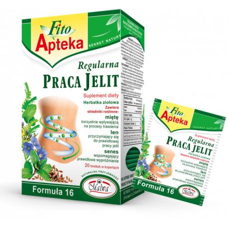 Regularna PRACA JELIT Formuła 16 - herbatka ziołowa, suplement diety, 20 saszetek x 2g