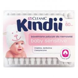 Cleanic Kindii - bawełniane patyczki kosmetyczne dla niemowląt Baby Sensitive, 60 szt.
