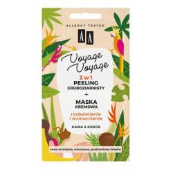 AA VOYAGE & VOYAGE - 2w1 peeling gruboziarnisty+maska kremowa, kawa & kokos, poj. 2x5 ml