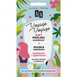 AA VOYAGE & VOYAGE - 2w1 peeling olejkowy+maska kremowa, olej monoi & hibiskus, poj. 2x5 ml