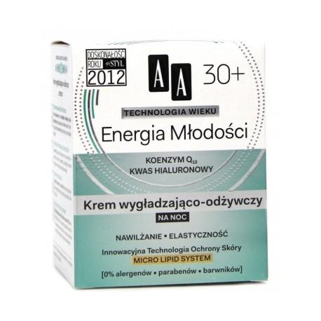Technologia Wieku 30+ Energia młodości - krem wygładzająco-odżywczy na noc, poj. 50 ml.
